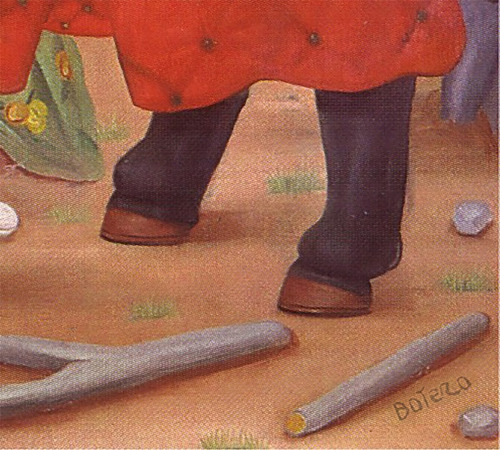 lienzo tela fernando botero el zurdo y su pandilla  70x88cm