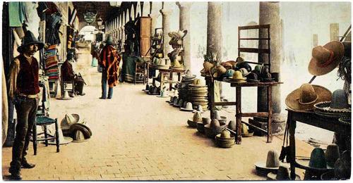 lienzo tela fotografía mercado de sombreros méxico 1900