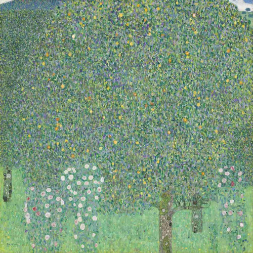 lienzo tela gustav klimt rosales bajo los árboles 90 x 90 cm