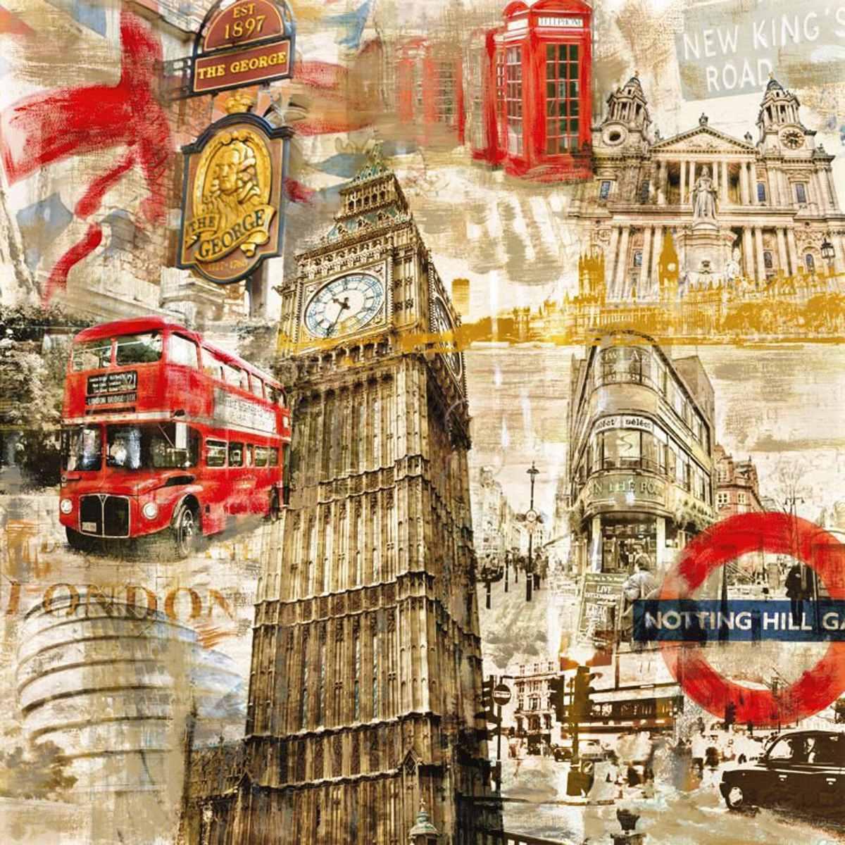 Lienzo Tela London, Vintage 80 X 80 Cm - $ 700.00 en ...
