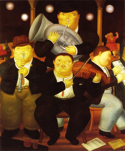lienzo-tela, los 4 músicos, fernando botero, 65 x 80 cm