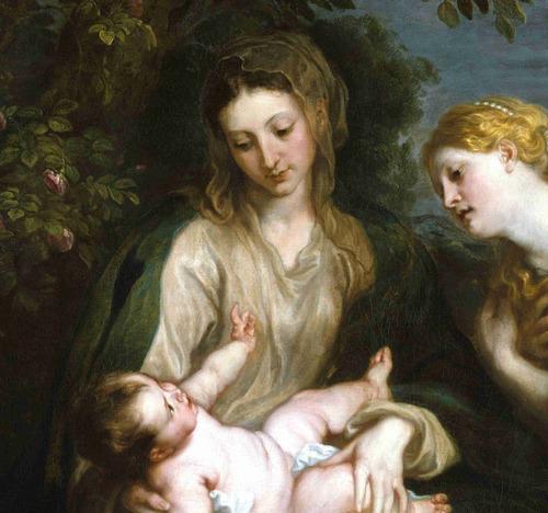 lienzo tela madonna y niño arte sacro anthony van dyck 65x50