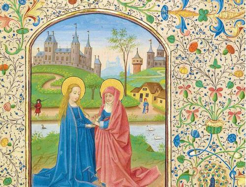 lienzo tela manuscritos iluminados la visitación arte sacro