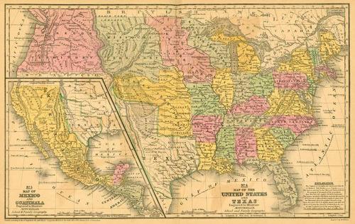 lienzo tela mapa histórico de américa 65 x 100 cm