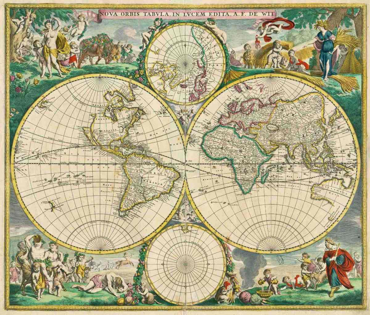 Lienzo tela mapa mundi 1670 60 x 70 cm raro cartograf a - Cuadro mapamundi ikea ...