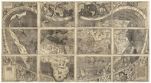 lienzo tela mapa mundi waldseemuller 50 x 90 cm decoración