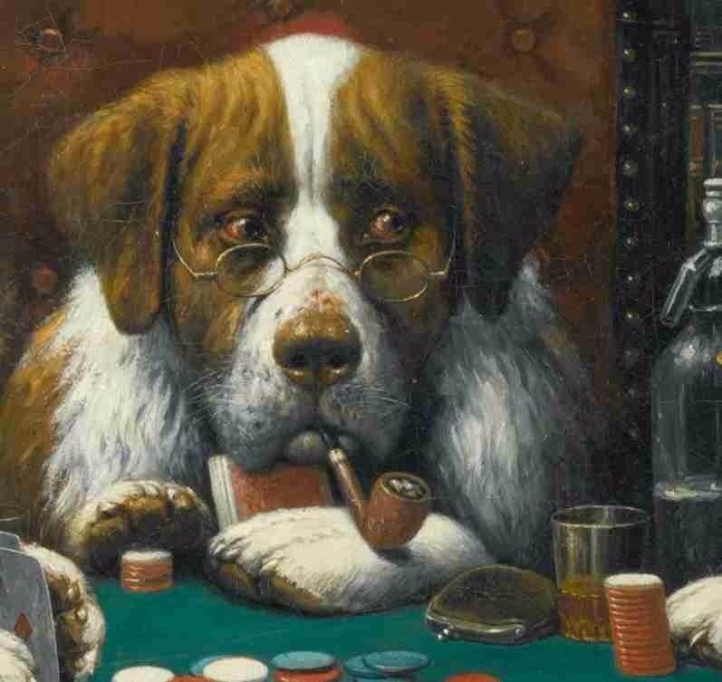 Lienzo Tela Perros Jugando Poker Ano 1894 50 X 61 Cm 750 00 En