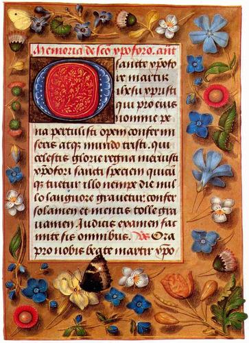 lienzo tela portada libro medieval de las horas 1470 70x50cm