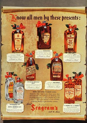 lienzo tela poster arte publicidad licor seagrams 1936 80x60