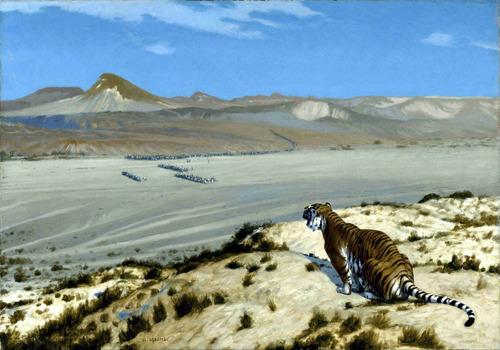 lienzo tela tigre al acecho jean leon gerome decoración arte