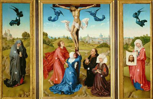 lienzo tela tríptico crucifixión arte sacro rogier 60 x 100