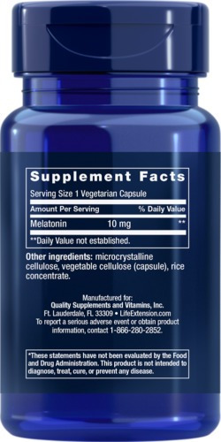 life extension melatonin, 10 mg, 60 cápsulas vegetales   do