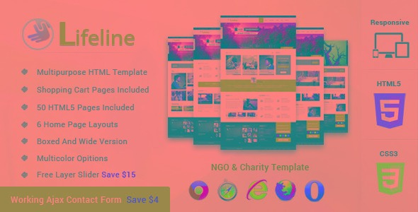 lifeline ngo and charity responsive html template r 25 00 em