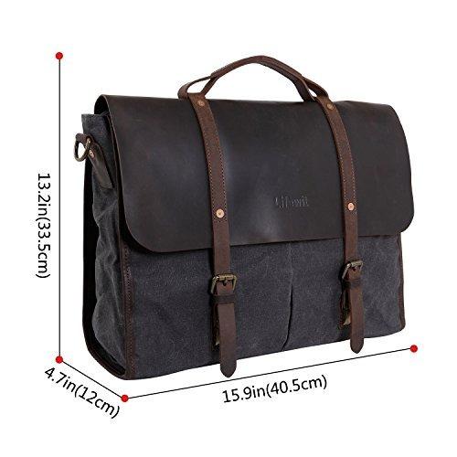 dda7d25ed Lifewit 15.6 Inch Laptop Bag Bolsos De Mensajero De Cuero Vi ...