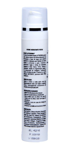 lift derma creme hidratante antirrugas e rejuvenescedor 50ml