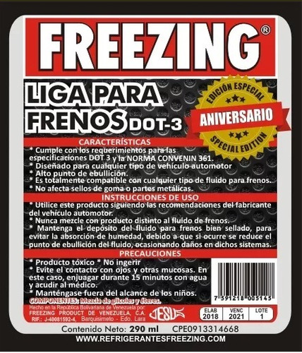 liga de frenos dot3 290ml freezing por caja, precio unitar