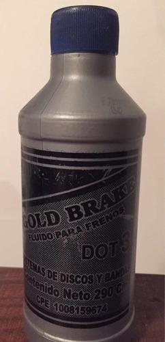 liga o fluido para frenos dot 3. gold brake. sellado.290cc