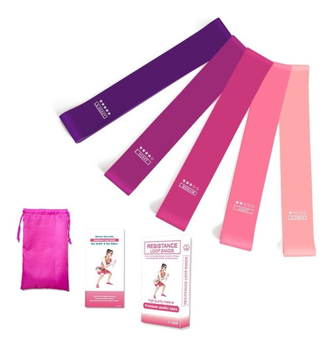ligas de resistencia set 5 bandas ejercicio yoga gym