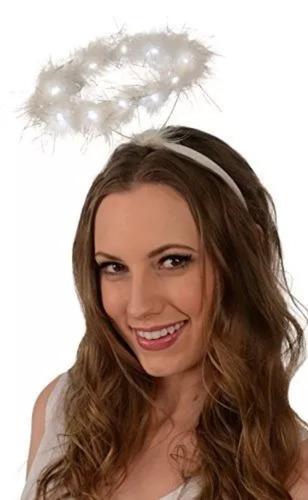 light-up angel halo headband; led blanco angel halo