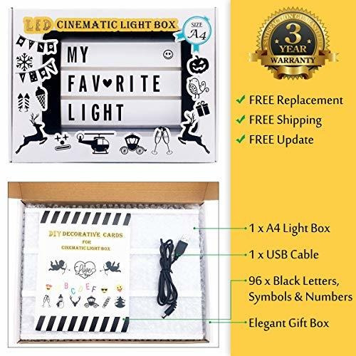 light up box sign with letters - a4 size diy decorative cine