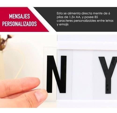 lightbox caja de luz a4 mensajes con letras proglobal