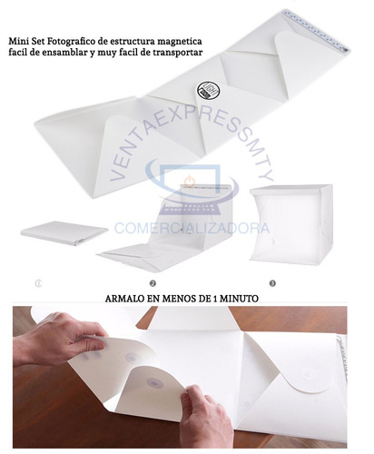 lightbox kit estudio fotográfico completo caja luz led dsrl