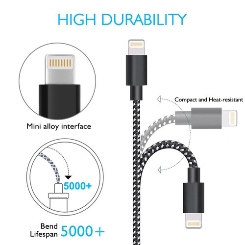 lightning cable, ama forest cargador iphone, 3 pack 3ft 6...