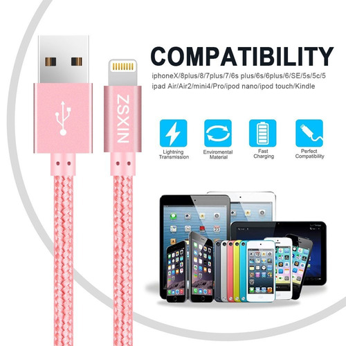 lightning cable, cargadores zsxin iphone 3 pack 3ft 6ft 1...