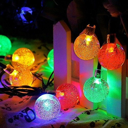 lightsetc solar string luces 15.7 pies 20 led crystal ball