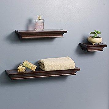 Lightstan Contemporary Floating Wall Shelves Espresso Brown