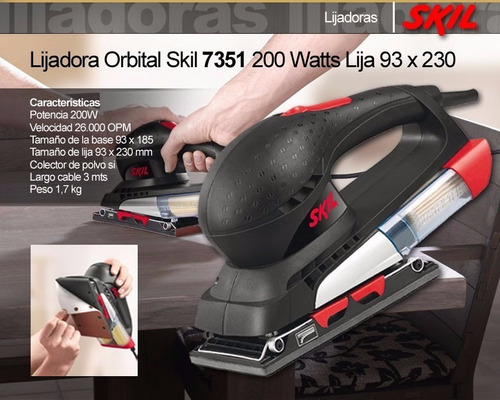 lijadora electrica 200w 110v marca skil modelo 7351
