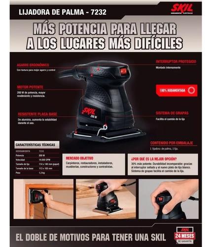 lijadora orbital 1/4 skil 7232 200w + lijas + guantes
