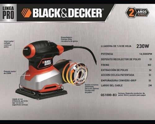 lijadora orbital black & decker, 230 w. qs1000, 1/4 hoja