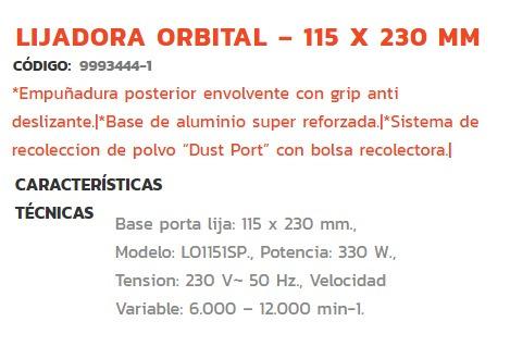 lijadora orbital dowen pagio 330 w 115 x 230 mm verashop