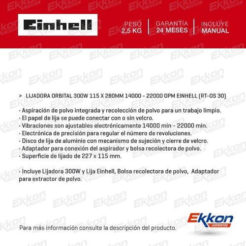 lijadora orbital einhell 300w manual madera c/bolsa rt-os 30