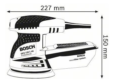 lijadora roto orbital excentrica bosch gex125-1ae 250w mano