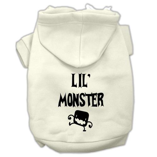 lil monstruo pantalla impresión pet hoodies crema tamaño x