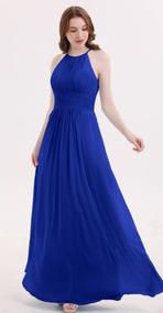 Lilasori Vestido Fiesta Dama Halter Azul Reynuevo Chifon T 9