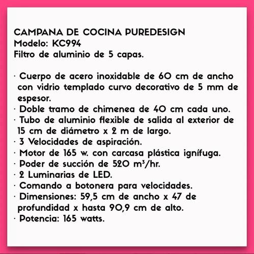 liliana kc994 campana de cocina puredesign 60cm inox+ vidrio