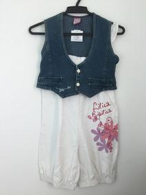 0c499cb969 Lilica Ripilica - Macaquinho Branco Com Colete Jeans. Tam 10