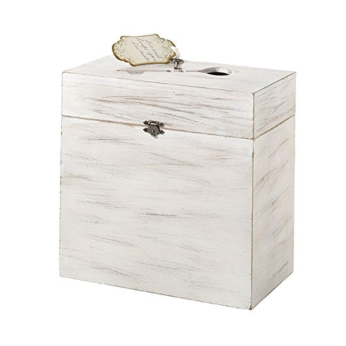 lillian rose white rustic country wooden wedding card caja