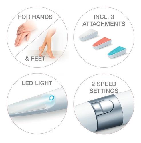 lima electrónica de uñas manicuria beurer mp18 con luz led
