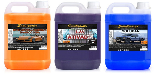 limpa baú 5x200 5l + solupan 1x40 5l+ shampoo cera 1x40 5l