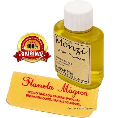 limpa chapeados monzi 35ml  + 1 flanela magica polir