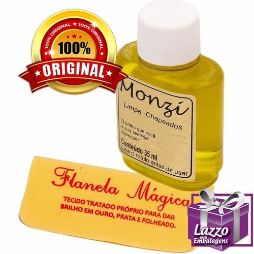 limpa folheados monzi 35ml original + flanela magica