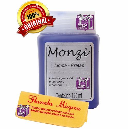 limpa joias em prata monzi 125ml + 1 flanela magica