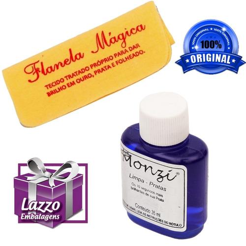 limpa joias em prata monzi 35ml original + 2 flanela magica