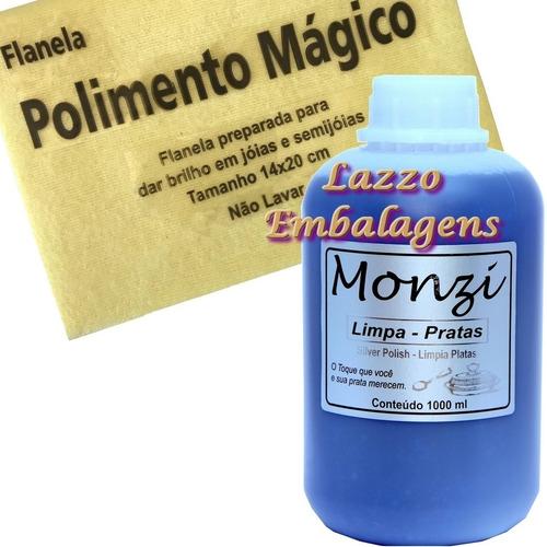 limpa prata monzi 1 litro + flanela magica limpa joias