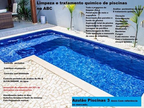 limpeza e tratamento químico de piscinas no abc