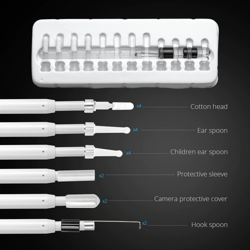 limpeza ouvido cera kit câmera endoscopio + seringa adaptada